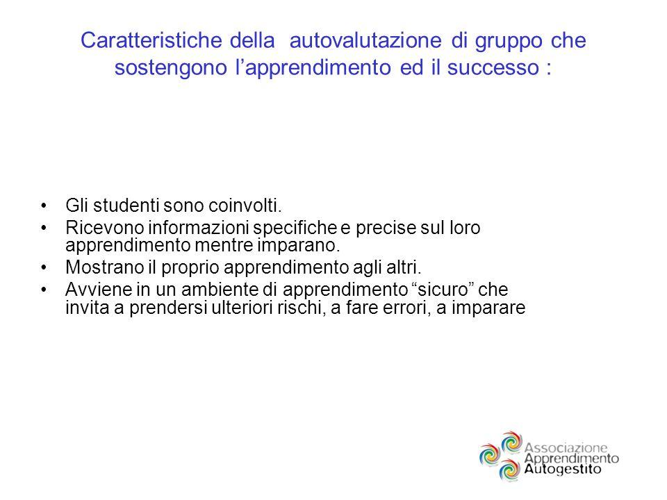 Caratteristiche della autovalutazione di gruppo che sostengono lapprendimento ed il successo : Gli studenti sono coinvolti.