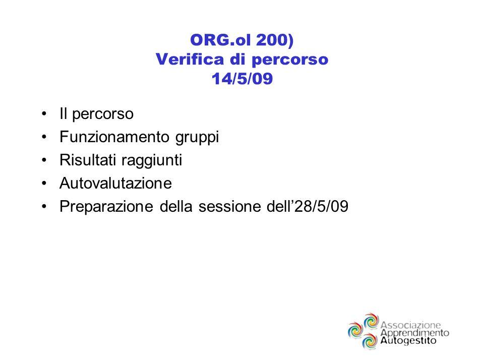 ORG.ol 200) Verifica di percorso 14/5/09 Il percorso Funzionamento gruppi Risultati raggiunti Autovalutazione Preparazione della sessione dell28/5/09