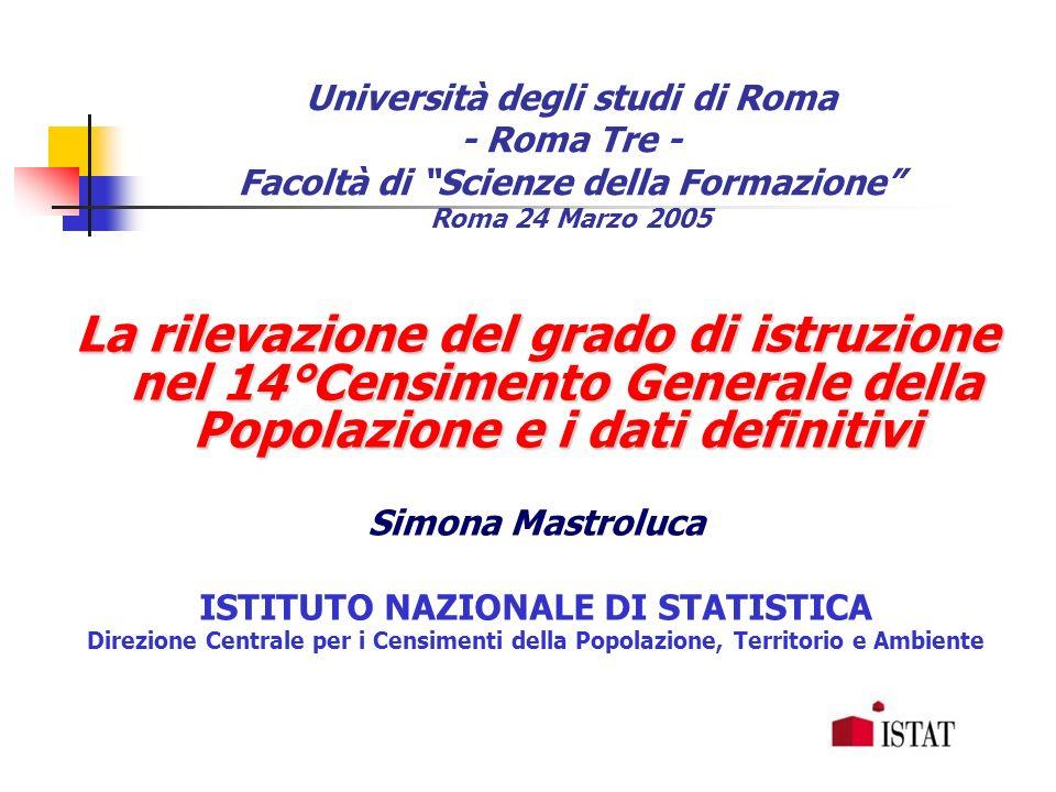 Università degli studi di Roma - Roma Tre - Facoltà di Scienze della Formazione Roma 24 Marzo 2005 La rilevazione del grado di istruzione nel 14°Censi
