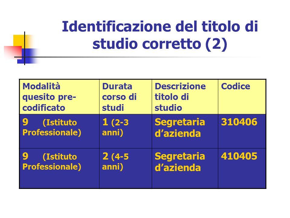 Identificazione del titolo di studio corretto (2) Modalità quesito pre- codificato Durata corso di studi Descrizione titolo di studio Codice 9 (Istitu