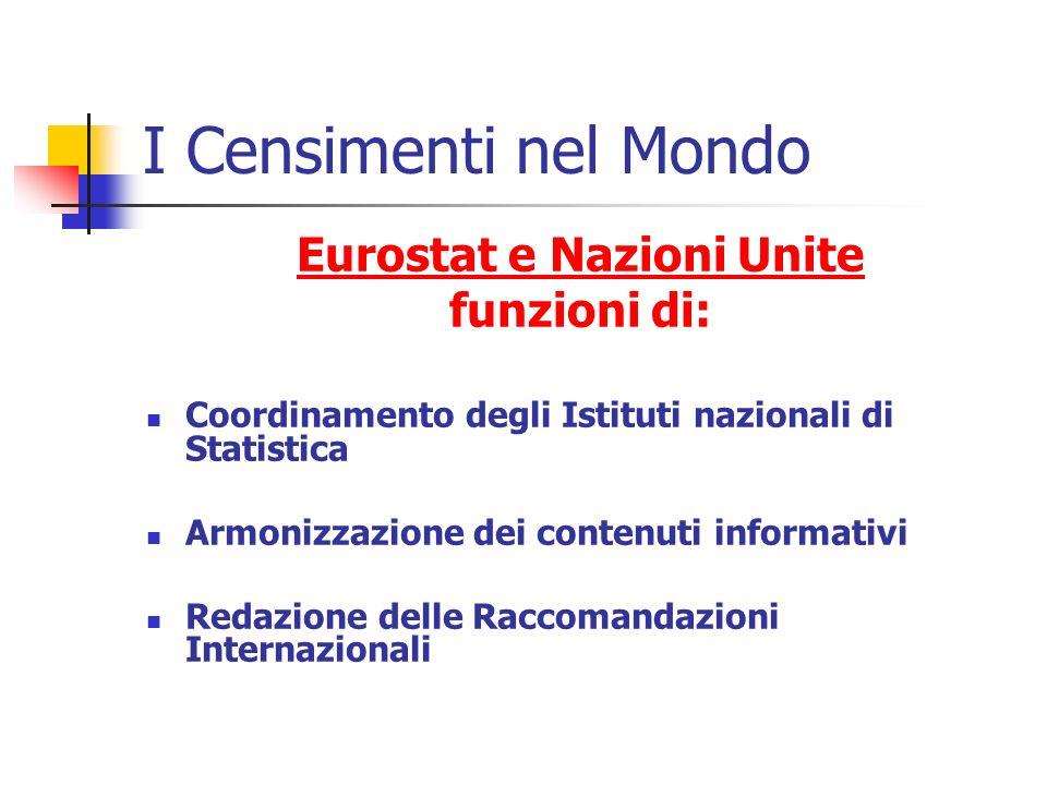 I Censimenti nel Mondo Eurostat e Nazioni Unite funzioni di: Coordinamento degli Istituti nazionali di Statistica Armonizzazione dei contenuti informativi Redazione delle Raccomandazioni Internazionali