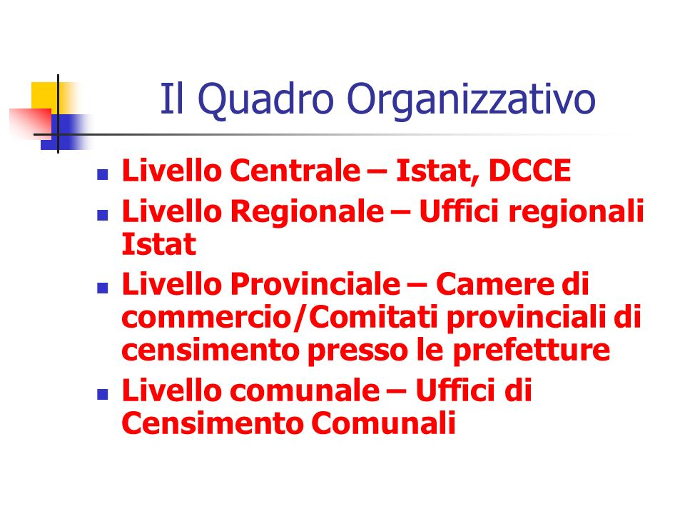 Il Quadro Organizzativo Livello Centrale – Istat, DCCE Livello Regionale – Uffici regionali Istat Livello Provinciale – Camere di commercio/Comitati p