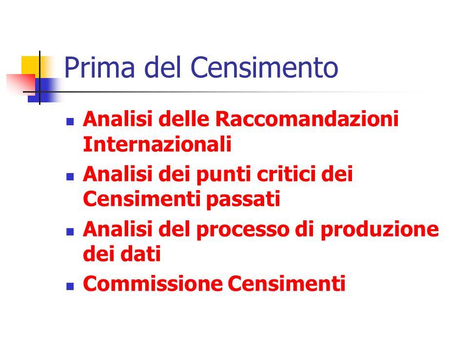 Prima del Censimento Analisi delle Raccomandazioni Internazionali Analisi dei punti critici dei Censimenti passati Analisi del processo di produzione