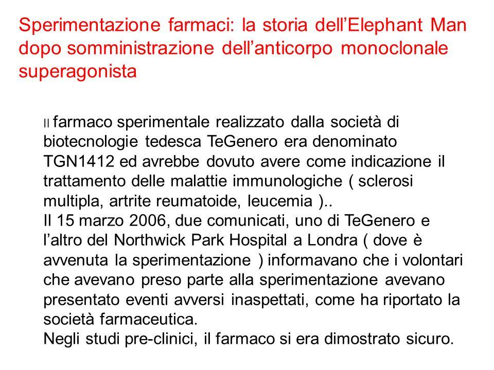 Sperimentazione farmaci: la storia dellElephant Man dopo somministrazione dellanticorpo monoclonale superagonista Il farmaco sperimentale realizzato d
