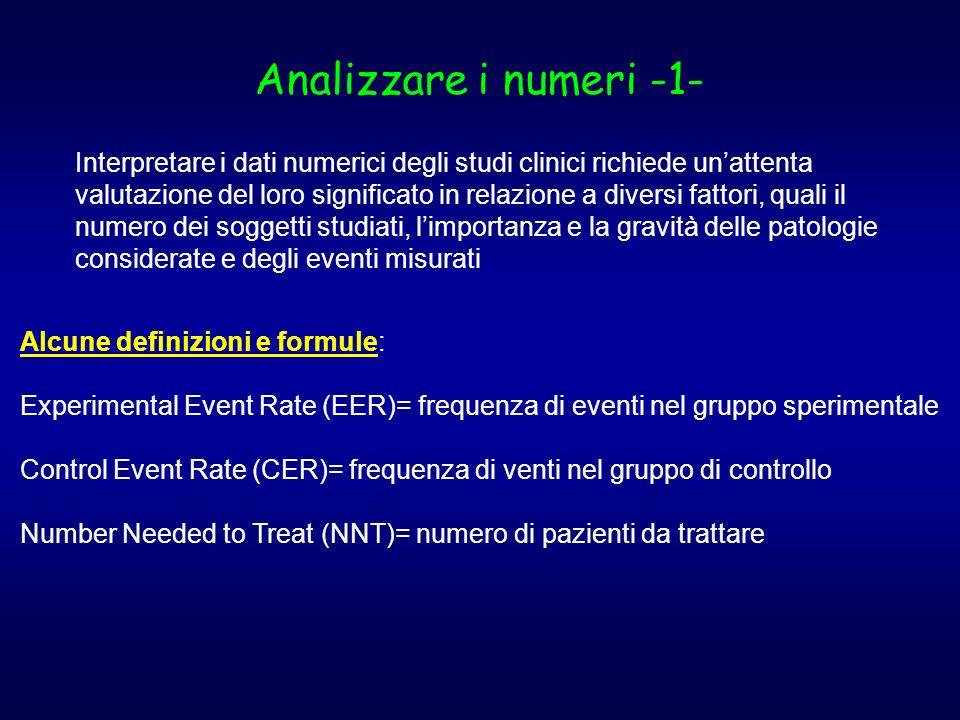 Analizzare i numeri -1- Interpretare i dati numerici degli studi clinici richiede unattenta valutazione del loro significato in relazione a diversi fa