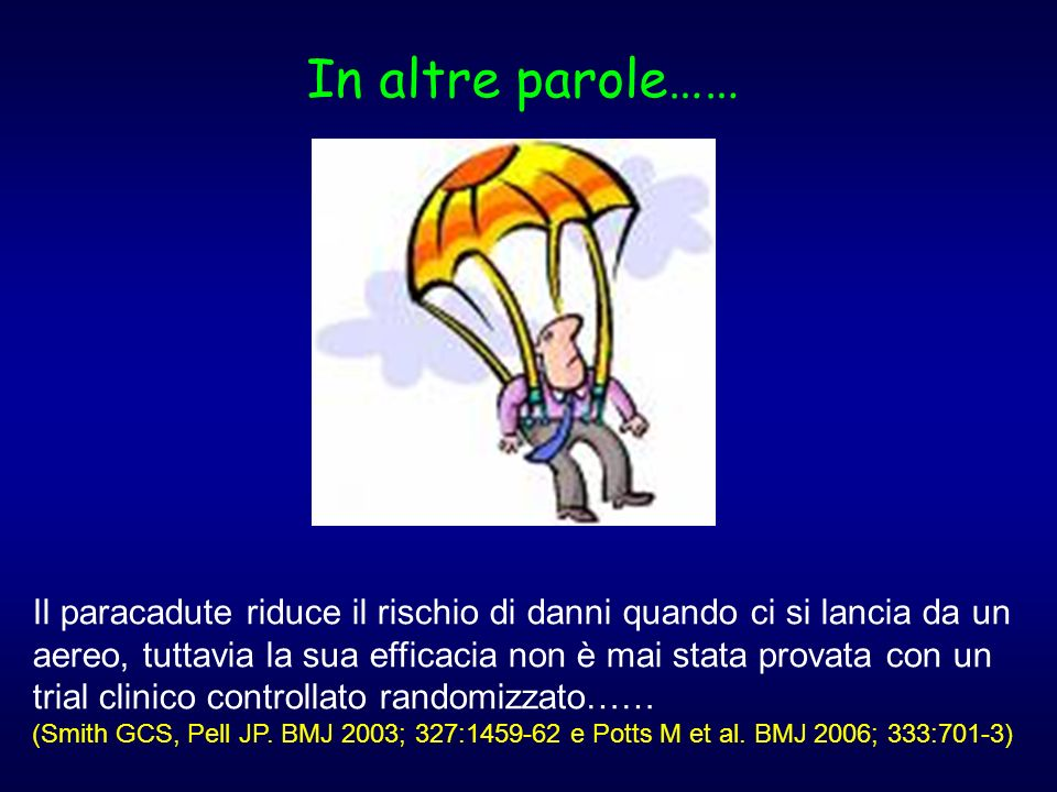 In altre parole…… Il paracadute riduce il rischio di danni quando ci si lancia da un aereo, tuttavia la sua efficacia non è mai stata provata con un t
