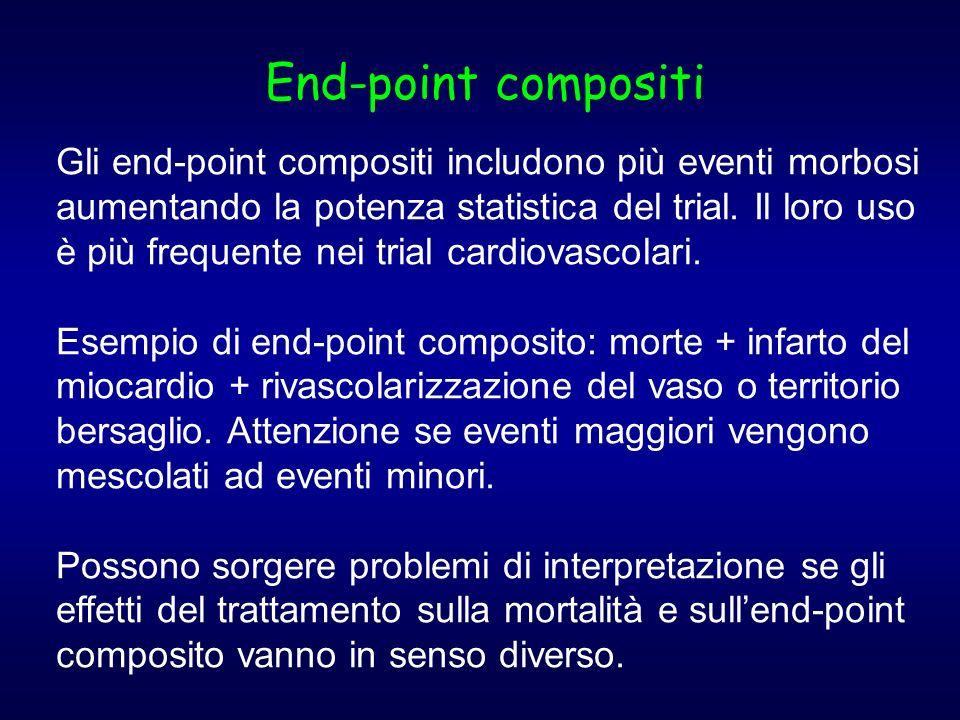 Gli end-point compositi includono più eventi morbosi aumentando la potenza statistica del trial. Il loro uso è più frequente nei trial cardiovascolari