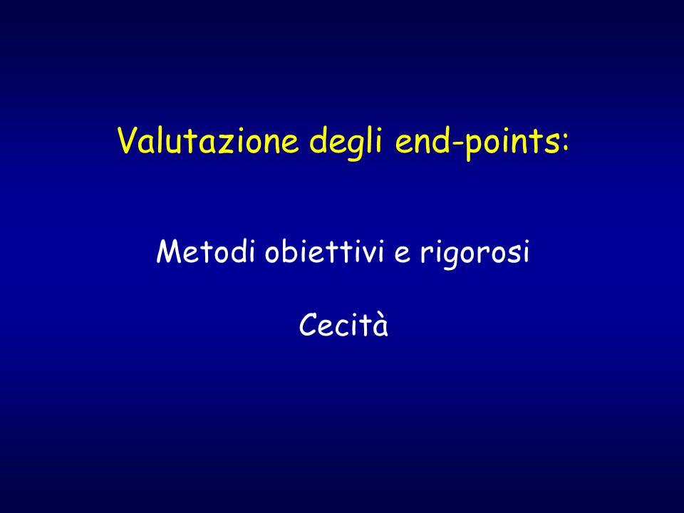 Valutazione degli end-points: Metodi obiettivi e rigorosi Cecità