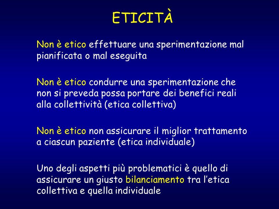 ETICITÀ Non è etico effettuare una sperimentazione mal pianificata o mal eseguita Non è etico condurre una sperimentazione che non si preveda possa po