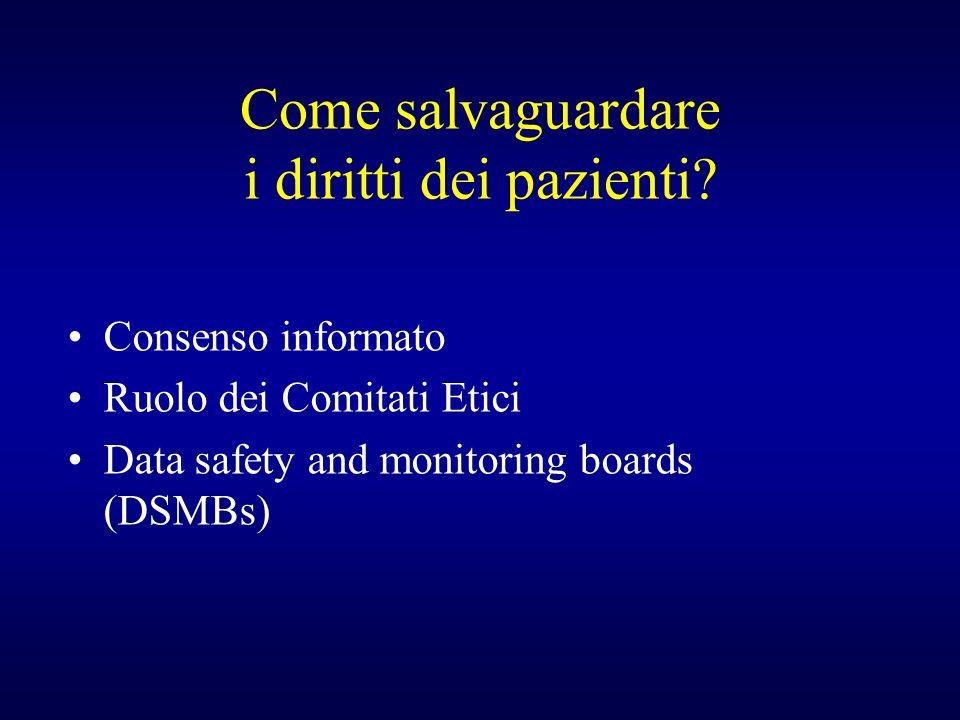 Come salvaguardare i diritti dei pazienti? Consenso informato Ruolo dei Comitati Etici Data safety and monitoring boards (DSMBs)