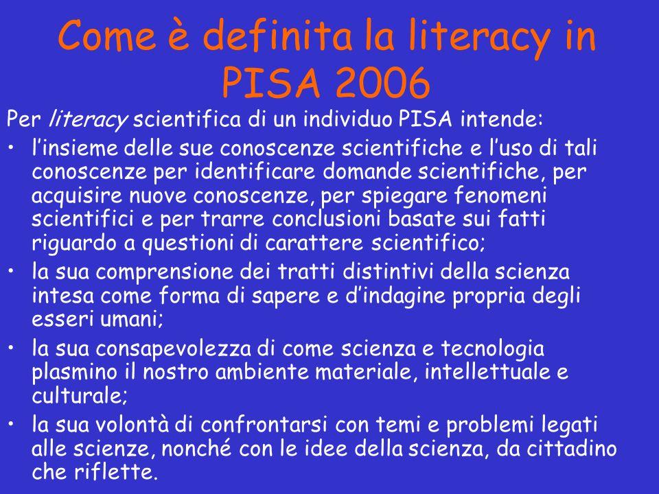 Come è definita la literacy in PISA 2006 Per literacy scientifica di un individuo PISA intende: linsieme delle sue conoscenze scientifiche e luso di t