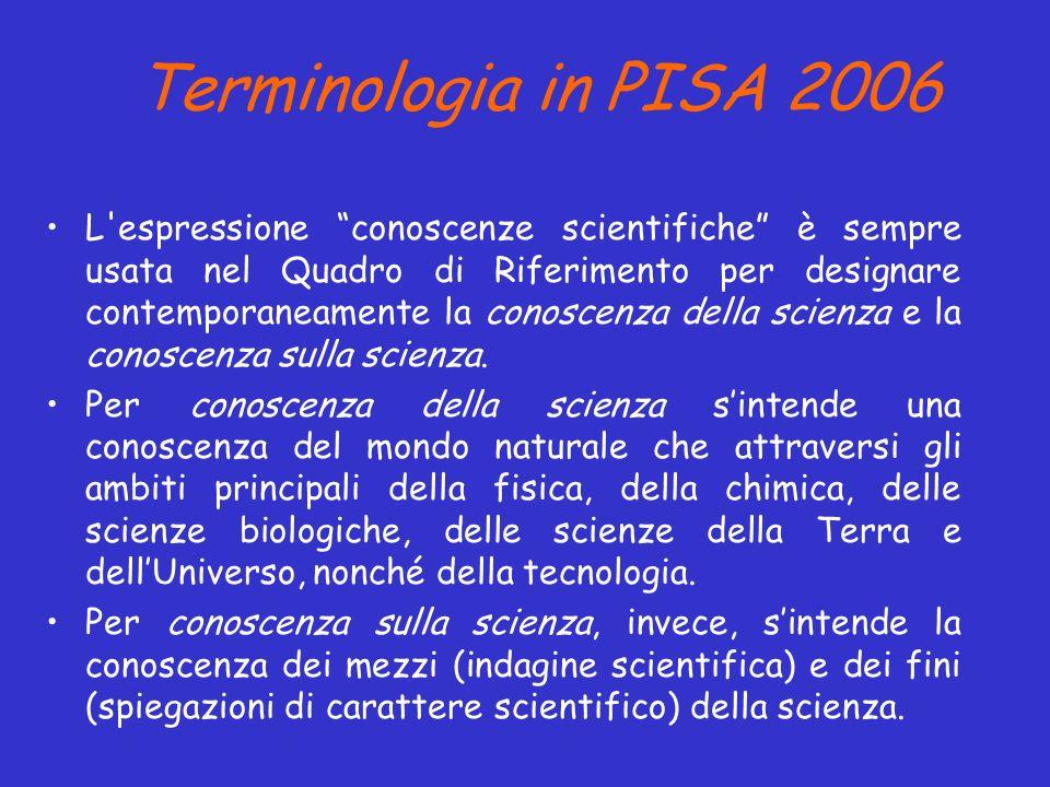 Terminologia in PISA 2006 L'espressione conoscenze scientifiche è sempre usata nel Quadro di Riferimento per designare contemporaneamente la conoscenz