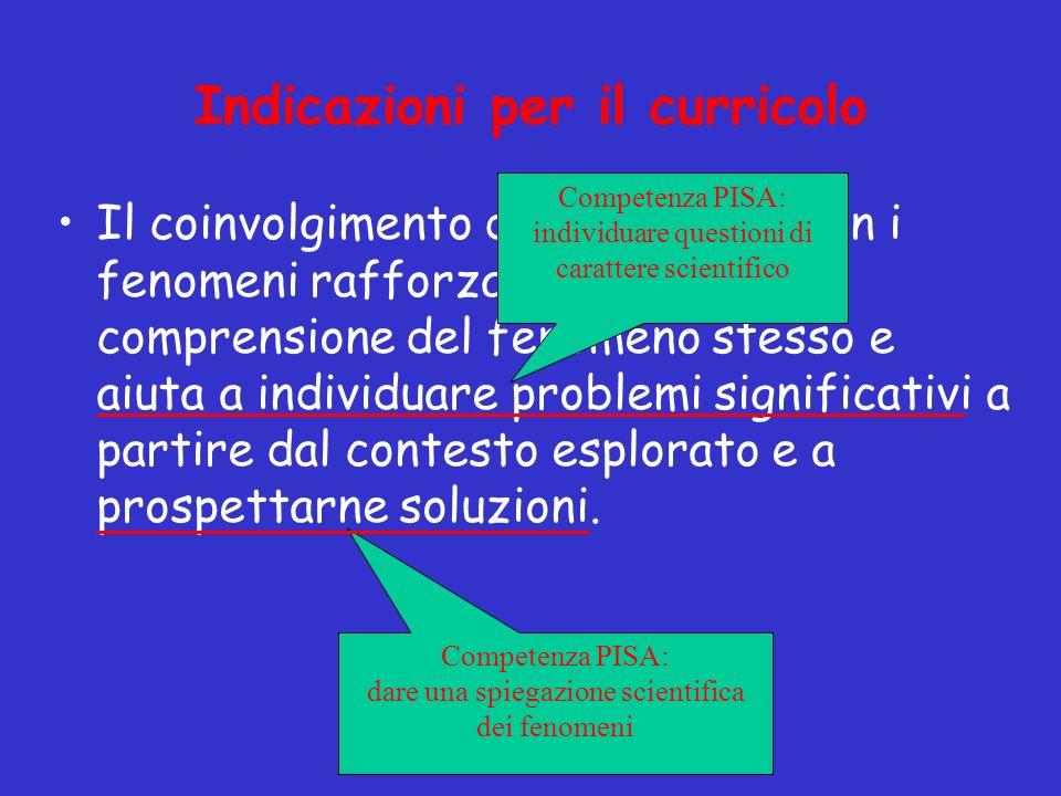Il coinvolgimento degli studenti con i fenomeni rafforza e sviluppa la comprensione del fenomeno stesso e aiuta a individuare problemi significativi a