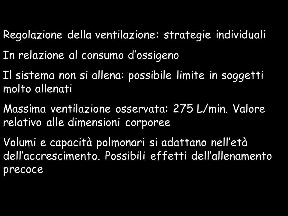 Regolazione della ventilazione: strategie individuali In relazione al consumo dossigeno Il sistema non si allena: possibile limite in soggetti molto a