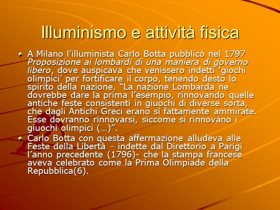 Illuminismo e attività fisica A Milano lilluminista Carlo Botta pubblicò nel 1797 Proposizione ai lombardi di una maniera di governo libero, dove ausp