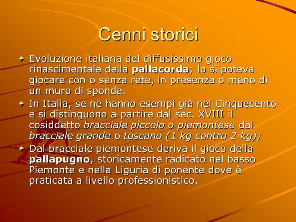 Cenni storici Evoluzione italiana del diffusissimo gioco rinascimentale della pallacorda; lo si poteva giocare con o senza rete, in presenza o meno di