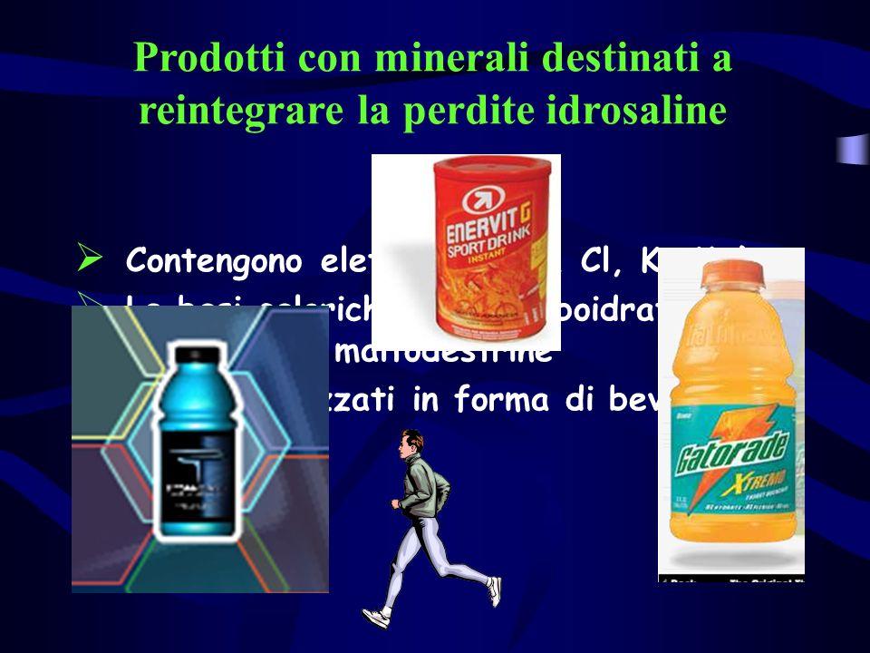 Prodotti con minerali destinati a reintegrare la perdite idrosaline Contengono elettroliti (Na, Cl, K, Mg) Le basi caloriche sono carboidrati semplici e/o maltodestrine Commercializzati in forma di bevande