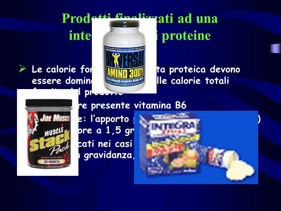 Prodotti finalizzati ad una integrazione di proteine Le calorie fornite dalla quota proteica devono essere dominanti rispetto alle calorie totali forn