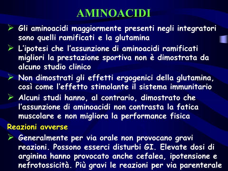 AMINOACIDI Gli aminoacidi maggiormente presenti negli integratori sono quelli ramificati e la glutamina Lipotesi che lassunzione di aminoacidi ramific