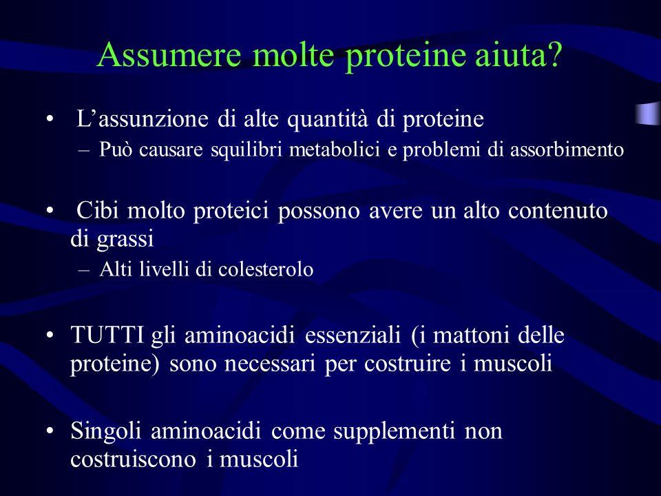 Assumere molte proteine aiuta? Lassunzione di alte quantità di proteine –Può causare squilibri metabolici e problemi di assorbimento Cibi molto protei