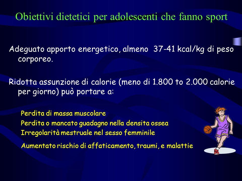 Obiettivi dietetici per adolescenti che fanno sport Adeguato apporto energetico, almeno 37-41 kcal/kg di peso corporeo. Ridotta assunzione di calorie