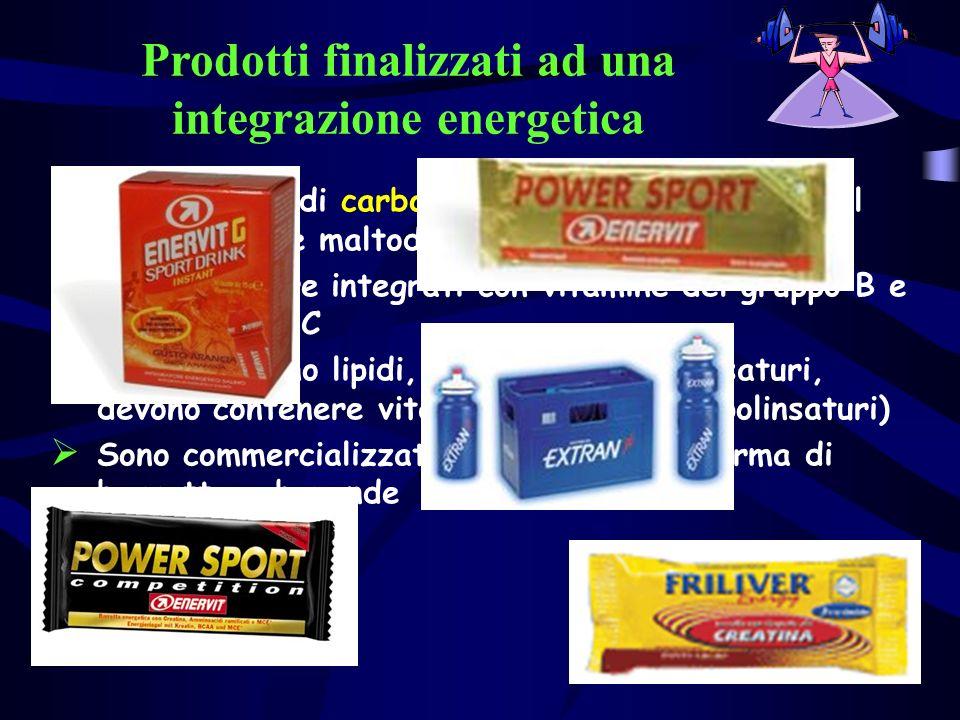 Prodotti finalizzati ad una integrazione energetica Sono a base di carboidrati (i più utilizzati sono il fruttosio e le maltodestrine) Devono essere i