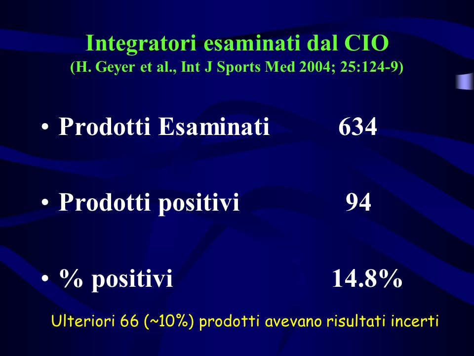 Integratori esaminati dal CIO (H. Geyer et al., Int J Sports Med 2004; 25:124-9) Prodotti Esaminati 634 Prodotti positivi 94 % positivi 14.8% Ulterior