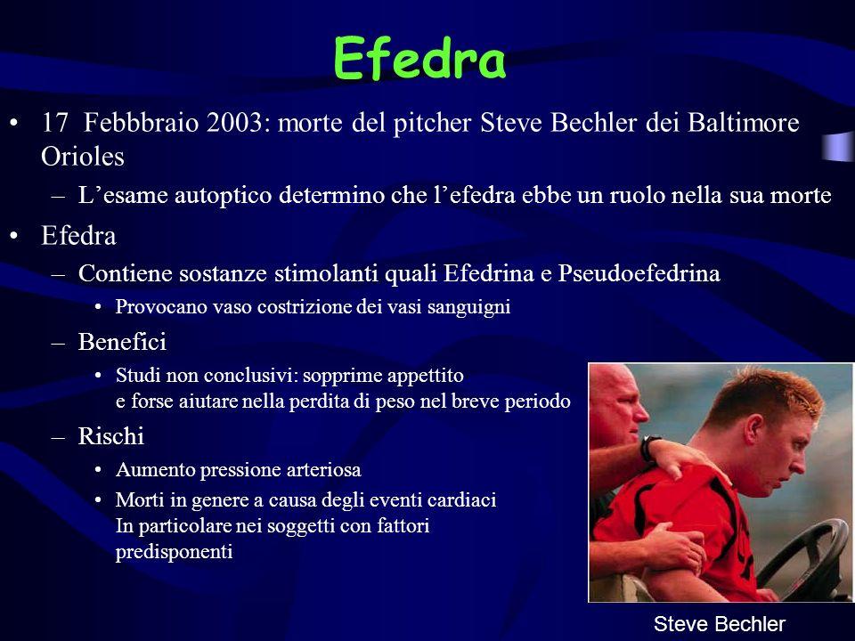 Efedra 17 Febbbraio 2003: morte del pitcher Steve Bechler dei Baltimore Orioles –Lesame autoptico determino che lefedra ebbe un ruolo nella sua morte