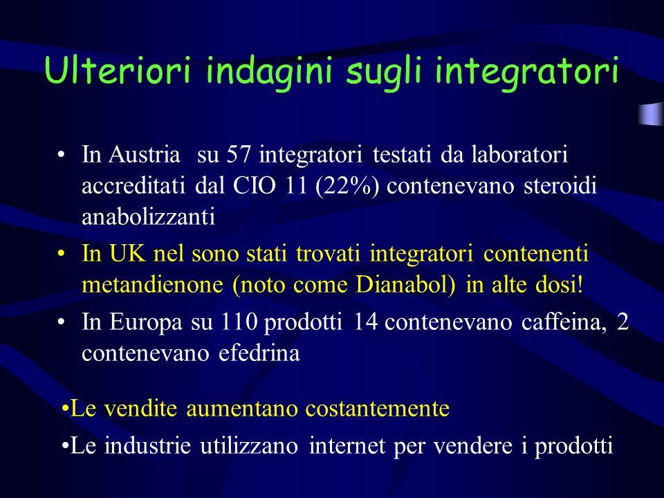 Ulteriori indagini sugli integratori In Austria su 57 integratori testati da laboratori accreditati dal CIO 11 (22%) contenevano steroidi anabolizzanti In UK nel sono stati trovati integratori contenenti metandienone (noto come Dianabol) in alte dosi.