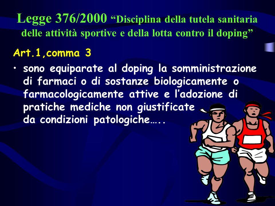 Legge 376/2000 Disciplina della tutela sanitaria delle attività sportive e della lotta contro il doping Art.1,comma 3 sono equiparate al doping la somministrazione di farmaci o di sostanze biologicamente o farmacologicamente attive e ladozione di pratiche mediche non giustificate da condizioni patologiche…..