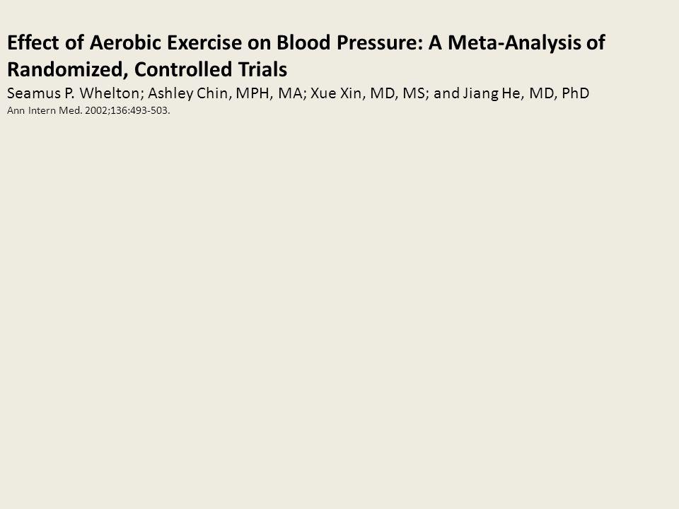 Questa meta analisi riguarda gli effetti dellesercizio aerobico sulla pressione arteriosa e si basa su ricerche cliniche randomizzate e controllate: abbiamo incluso 54 lavori su 2419 soggetti di un ampio spettro di regioni geografiche e di etnie.