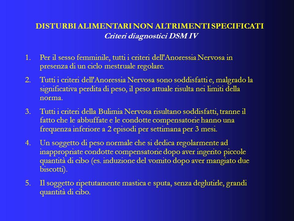 1.Per il sesso femminile, tutti i criteri dell'Anoressia Nervosa in presenza di un ciclo mestruale regolare. 2.Tutti i criteri dell'Anoressia Nervosa