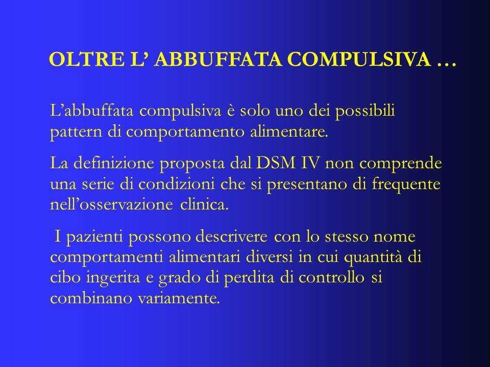 OLTRE L ABBUFFATA COMPULSIVA … Labbuffata compulsiva è solo uno dei possibili pattern di comportamento alimentare. La definizione proposta dal DSM IV