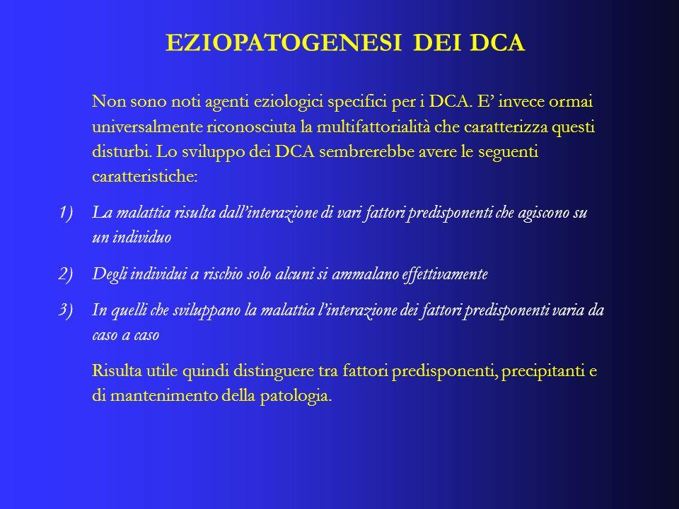 EZIOPATOGENESI DEI DCA Non sono noti agenti eziologici specifici per i DCA. E invece ormai universalmente riconosciuta la multifattorialità che caratt