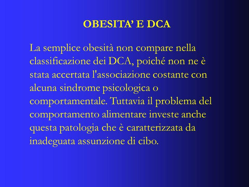 CLASSIFICAZIONE DEI DCA I Disturbi del Comportamento Alimentare (DCA) comprendono lAnoressia Nervosa (AN), la Bulimia Nervosa (BN) e il Disturbo da Alimentazione Incontrollata (DAI).