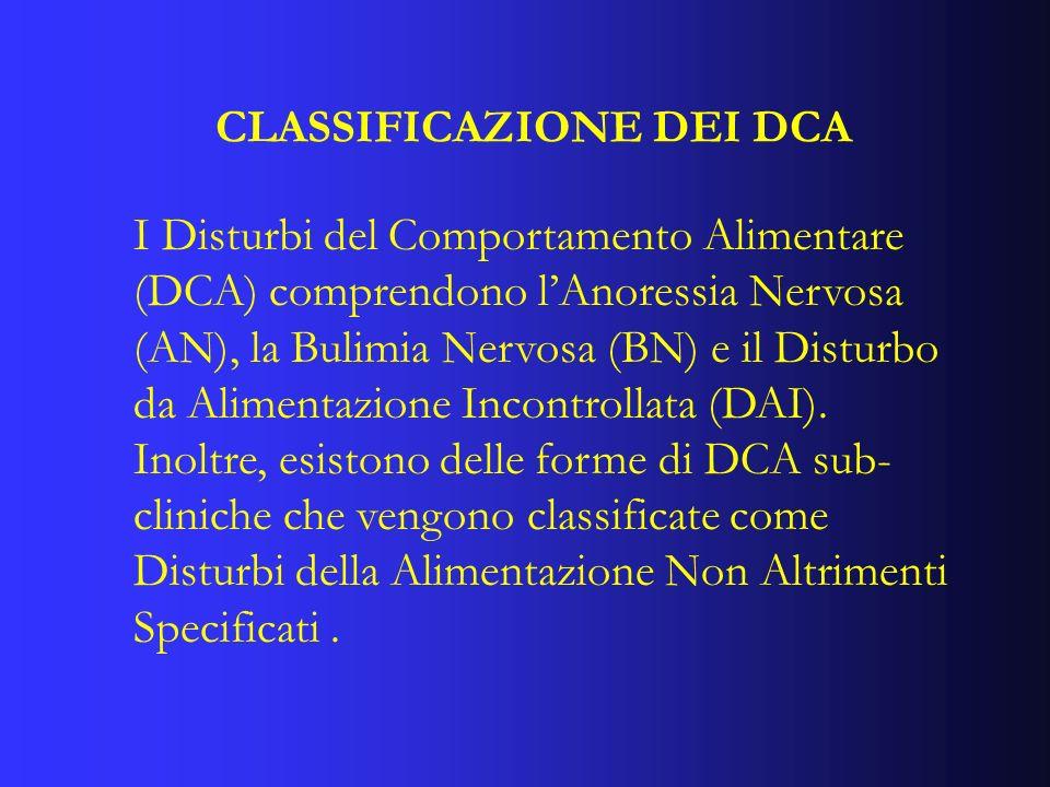 CLASSIFICAZIONE DEI DCA I Disturbi del Comportamento Alimentare (DCA) comprendono lAnoressia Nervosa (AN), la Bulimia Nervosa (BN) e il Disturbo da Al