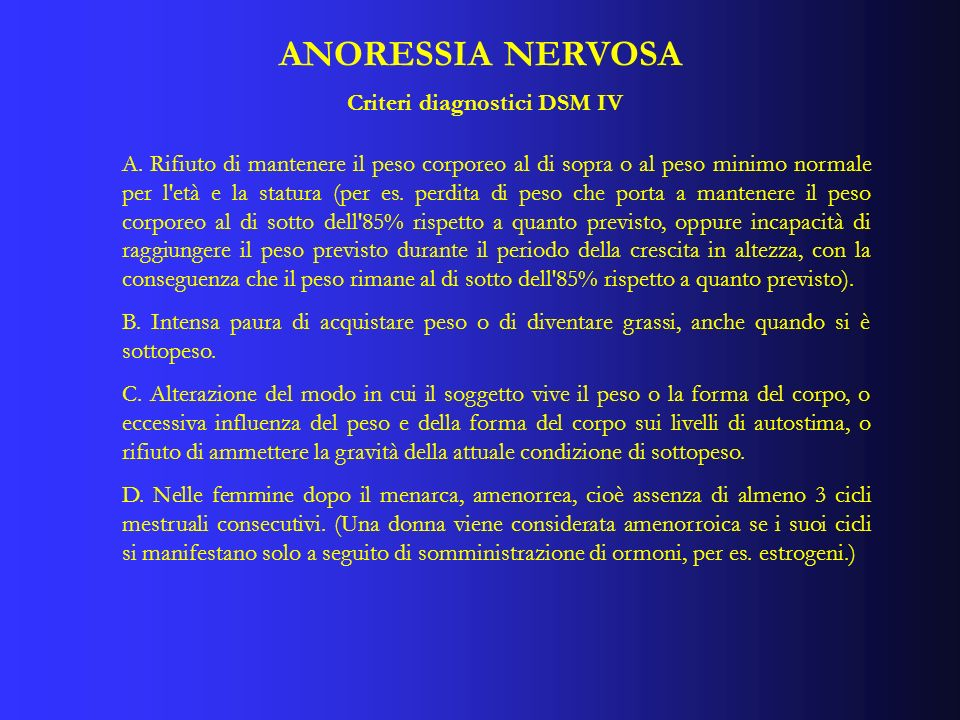ANORESSIA NERVOSA Criteri diagnostici DSM IV A. Rifiuto di mantenere il peso corporeo al di sopra o al peso minimo normale per l'età e la statura (per