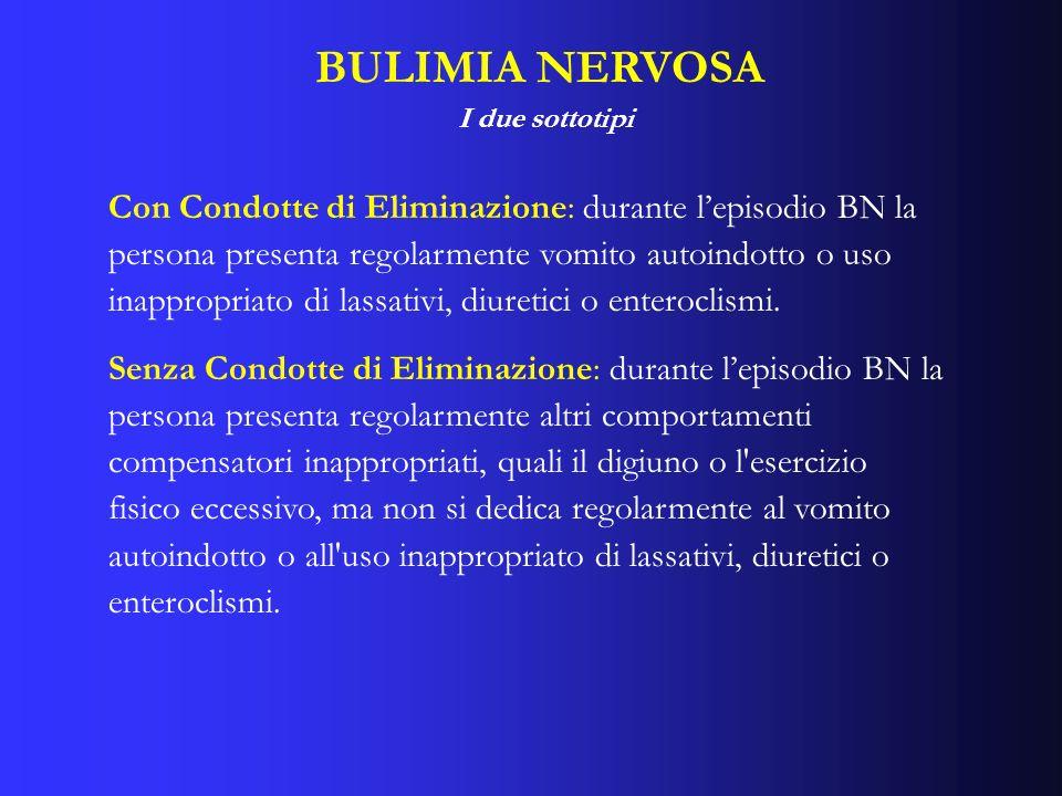 BULIMIA NERVOSA I due sottotipi Con Condotte di Eliminazione: durante lepisodio BN la persona presenta regolarmente vomito autoindotto o uso inappropr