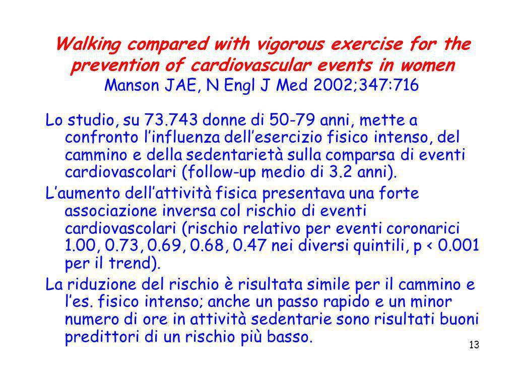 13 Walking compared with vigorous exercise for the prevention of cardiovascular events in women Manson JAE, N Engl J Med 2002;347:716 Lo studio, su 73
