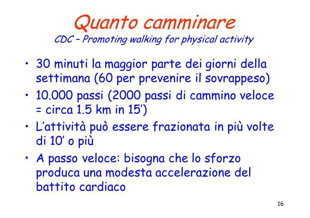 16 Quanto camminare CDC – Promoting walking for physical activity 30 minuti la maggior parte dei giorni della settimana (60 per prevenire il sovrappeso) 10.000 passi (2000 passi di cammino veloce = circa 1.5 km in 15) Lattività può essere frazionata in più volte di 10 o più A passo veloce: bisogna che lo sforzo produca una modesta accelerazione del battito cardiaco