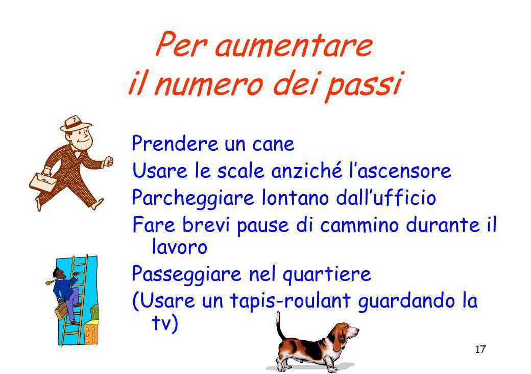 17 Per aumentare il numero dei passi Prendere un cane Usare le scale anziché lascensore Parcheggiare lontano dallufficio Fare brevi pause di cammino durante il lavoro Passeggiare nel quartiere (Usare un tapis-roulant guardando la tv)