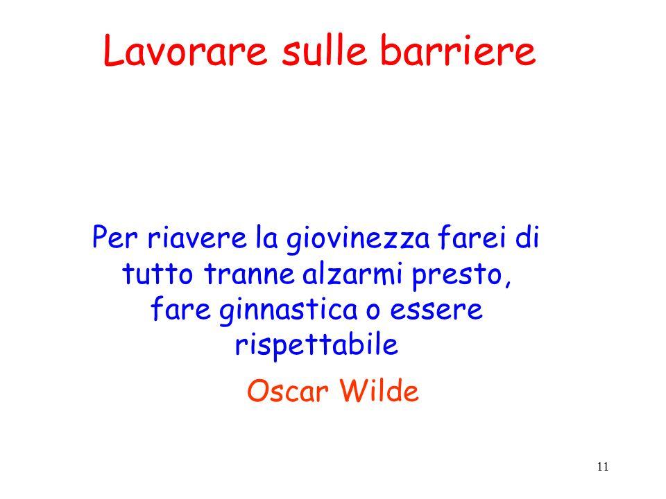 11 Oscar Wilde Per riavere la giovinezza farei di tutto tranne alzarmi presto, fare ginnastica o essere rispettabile Lavorare sulle barriere