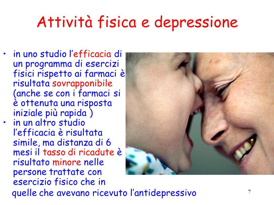 7 Attività fisica e depressione in uno studio lefficacia di un programma di esercizi fisici rispetto ai farmaci è risultata sovrapponibile (anche se c