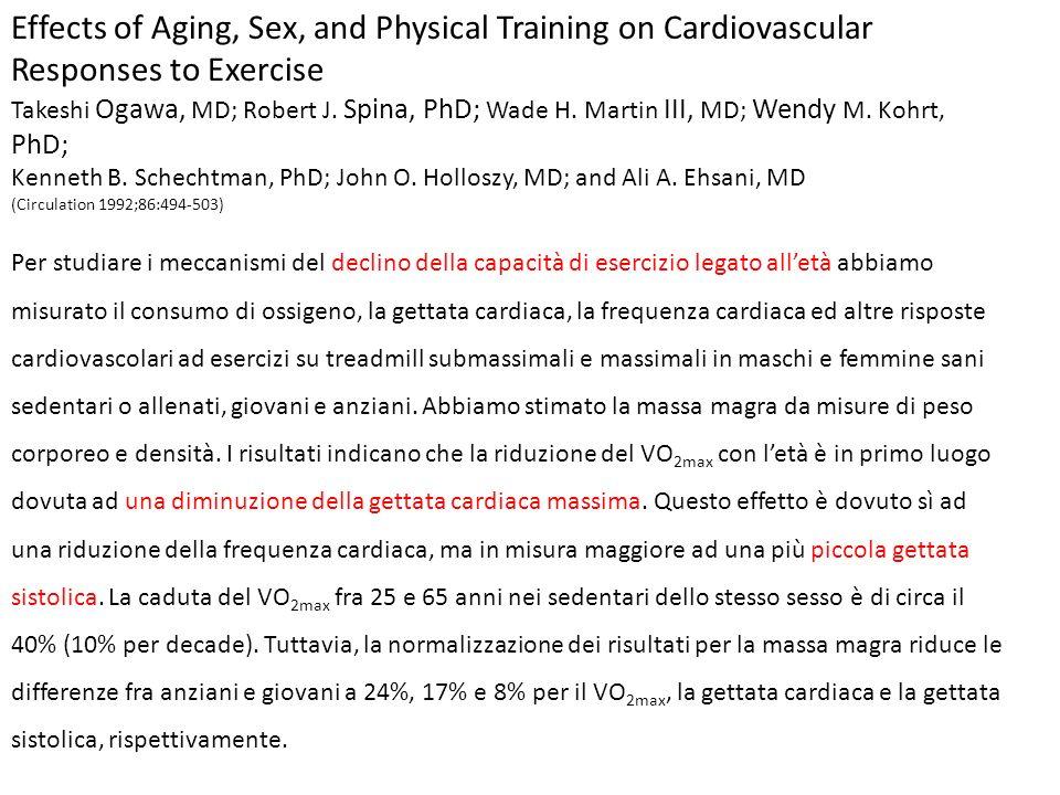 La minor gettata sistolica negli anziani durante esercizio massimale si associa ad una più elevata pressione arteriosa media nelle femmine e nei maschi sedentari.
