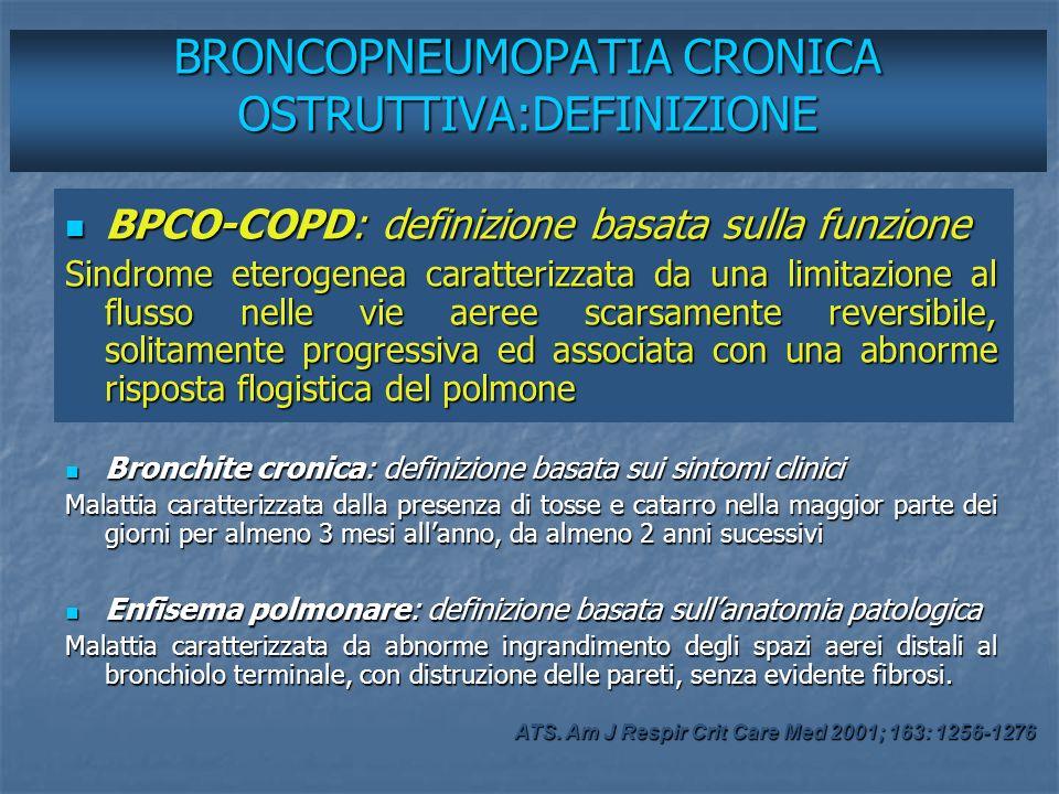 Prevalenza: 465 casi/10000 abitanti BPCO:EPIDEMIOLOGIA Mortalità: 18252 casi/anno (quarta causa > 45a) ISTAT.