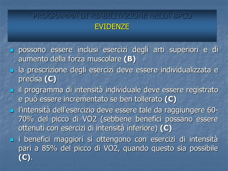 EVIDENZE (2) possono essere inclusi esercizi degli arti superiori e di aumento della forza muscolare (B) possono essere inclusi esercizi degli arti su
