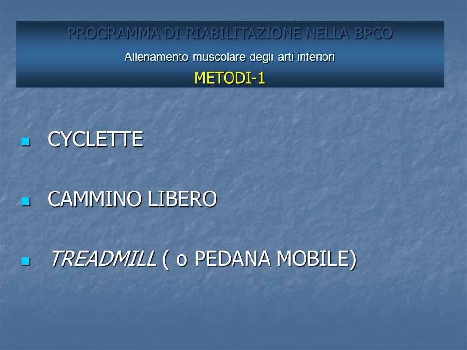 CYCLETTE CYCLETTE CAMMINO LIBERO CAMMINO LIBERO TREADMILL ( o PEDANA MOBILE) TREADMILL ( o PEDANA MOBILE) PROGRAMMA DI RIABILITAZIONE NELLA BPCO Allen