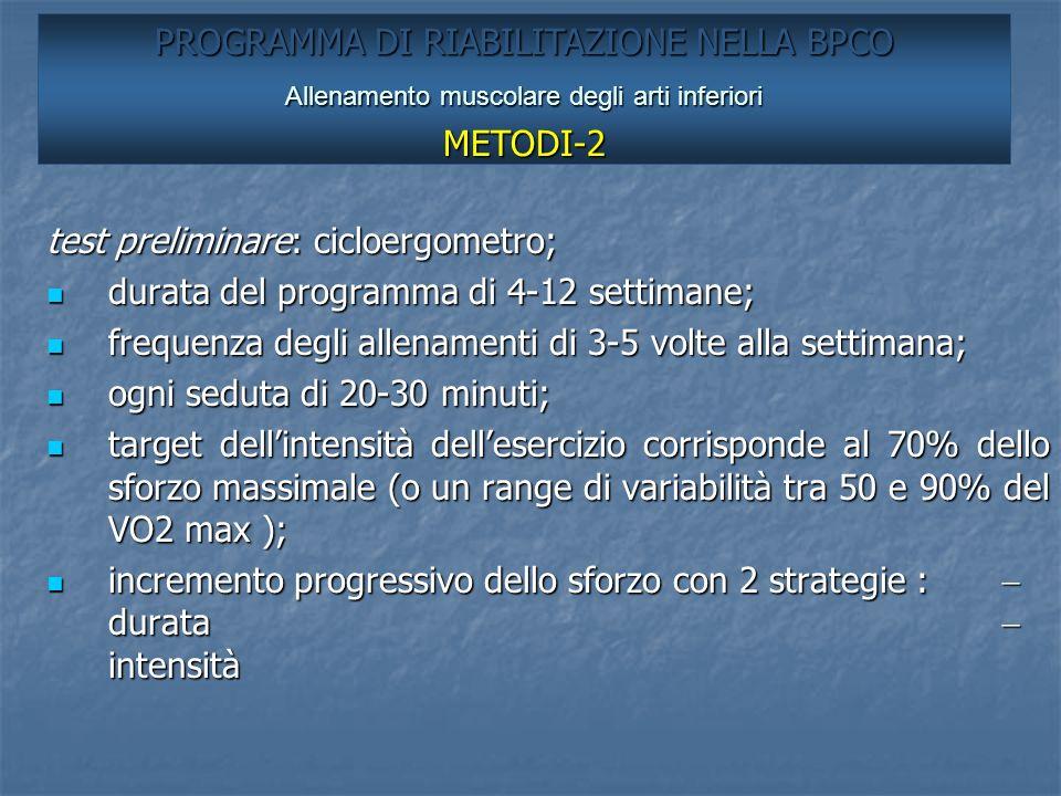 test preliminare: cicloergometro; durata del programma di 4-12 settimane; durata del programma di 4-12 settimane; frequenza degli allenamenti di 3-5 v
