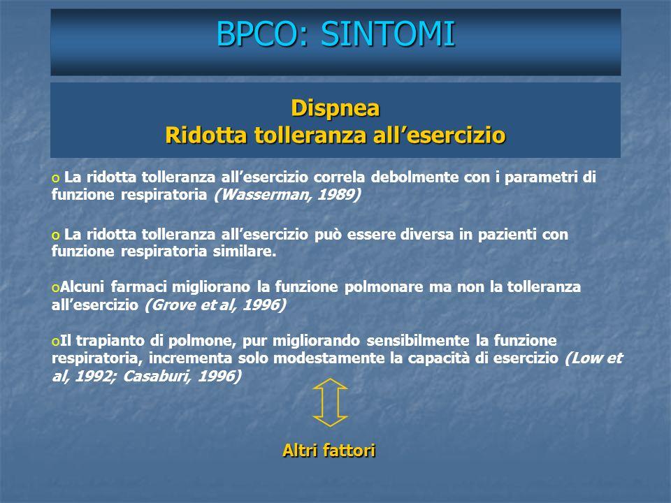Dispnea Ridotta tolleranza allesercizio BPCO: SINTOMI o o La ridotta tolleranza allesercizio correla debolmente con i parametri di funzione respirator