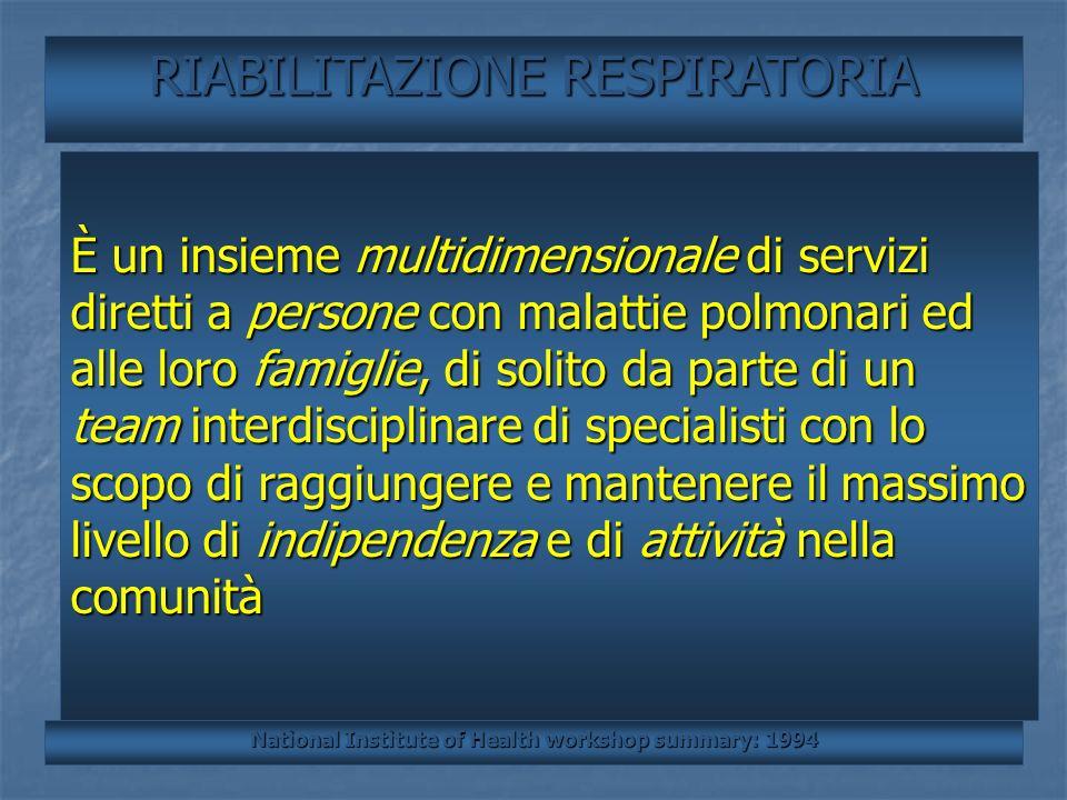 BIOMECCANICA RIABILITAZIONE RESPIRATORIA È un insieme multidimensionale di servizi diretti a persone con malattie polmonari ed alle loro famiglie, di